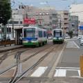 路面電車が行き交う福井市に到着