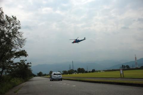 富山県警の救助ヘリ演習