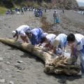 清掃に汗を流す子供たち(写真提供:光市役所)