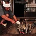 ご主人自ら捕った岩魚の串焼き