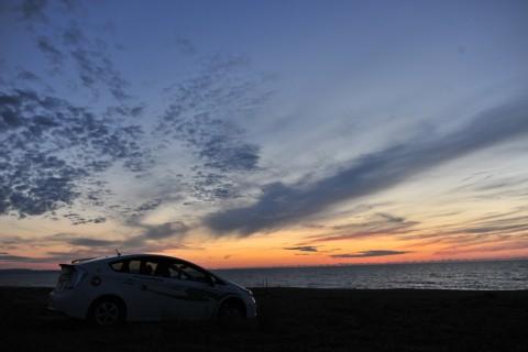 日本海の夕陽に間に合った