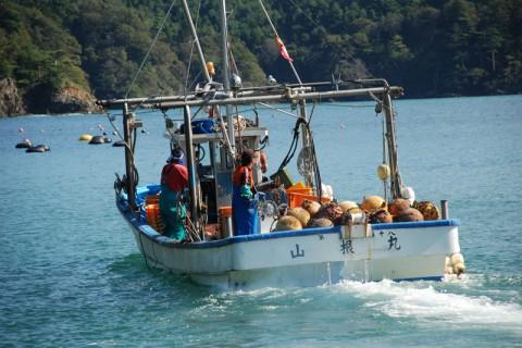 牡蠣やホタテを積んだOHガッツ!の船