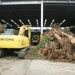 剪定木材や間伐材を選別、粉砕する