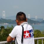 今治S.A.から来島海峡大橋を望む