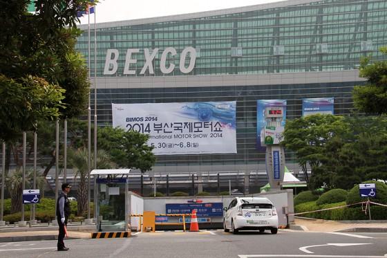 30日から開催される釜山国際モーターショー会場BEXCOに到着