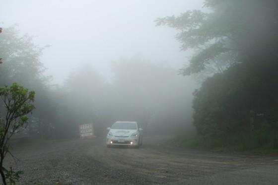 """""""山の天気は変わりやすい""""の通り、あっという間に濃霧に包まれた。"""