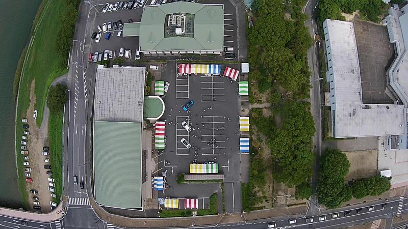 ACPの新兵器、マルチコプターが撮影したひかりエコフェスタ会場の空撮。