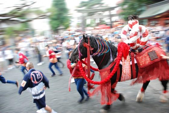 飾り馬をコントロールしながらかなりのスピードで駆け抜けて行く。