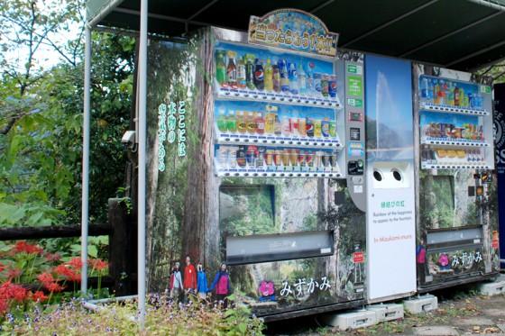 自動販売機に市房大杉のラッピングが施してある。