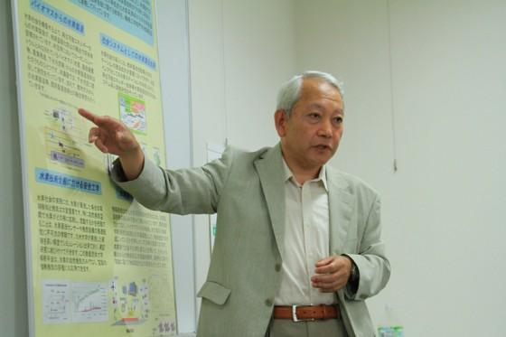 バイオマスバイオマス水素が専門の田島教授に、下水から水素を製造する工程を解りやすく解説していただいた。