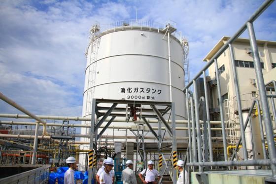 嫌気性細菌の酵素分解により発生する消化ガスを貯蔵するタンク。