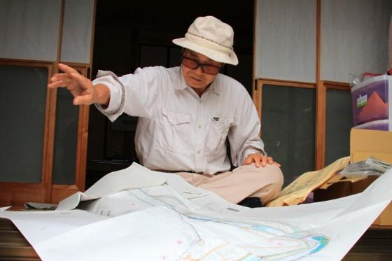 地域住民から聞取り調査したダム建設以前の球磨川の様子を記した手描きの地図を見せていただいた。
